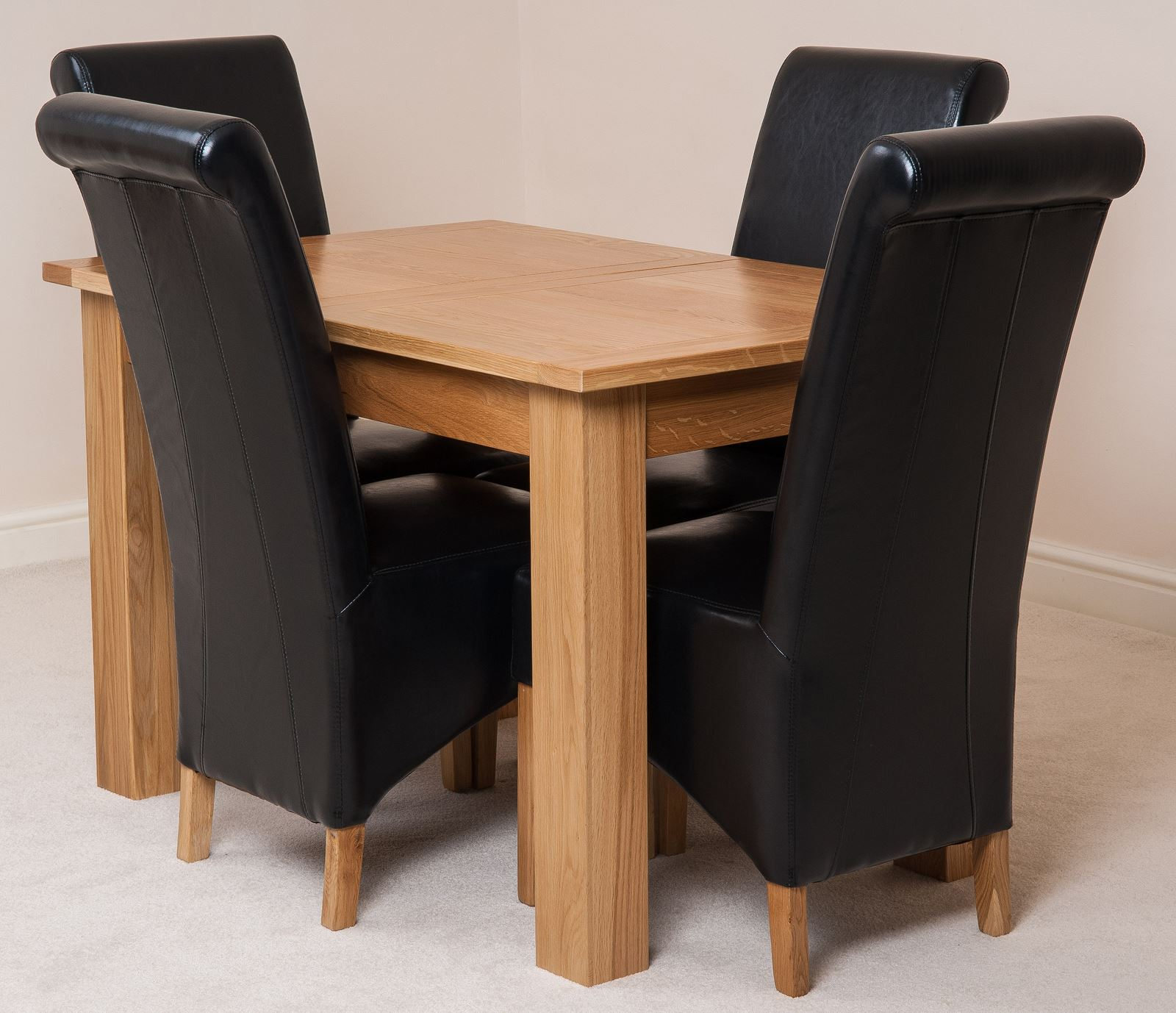 Hampton oak 120cm extending dining room table 4 brown for 120cm dining table with 4 chairs
