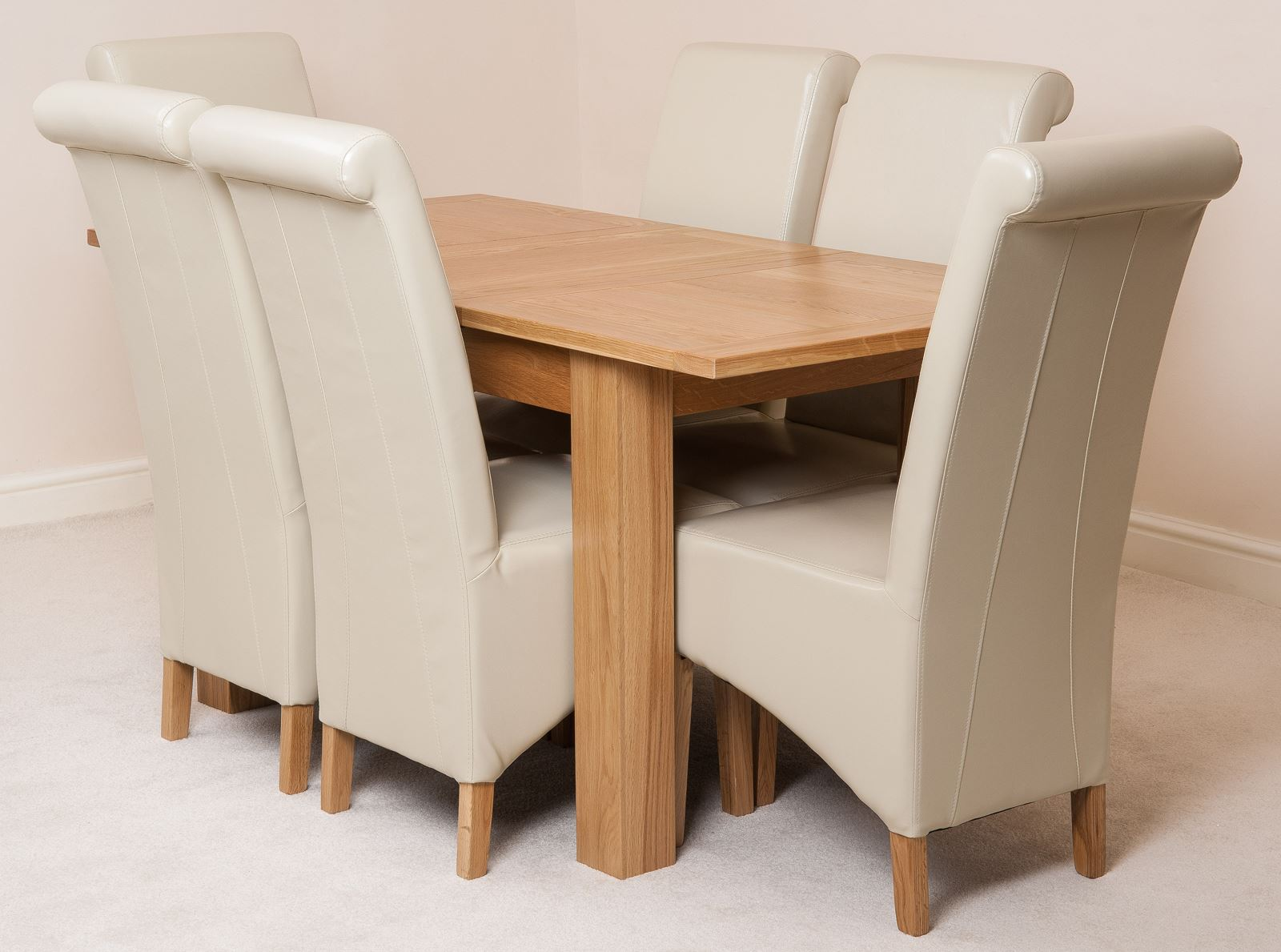 hampton extending solid oak dining table and 6 ivory leather chairs ebay. Black Bedroom Furniture Sets. Home Design Ideas