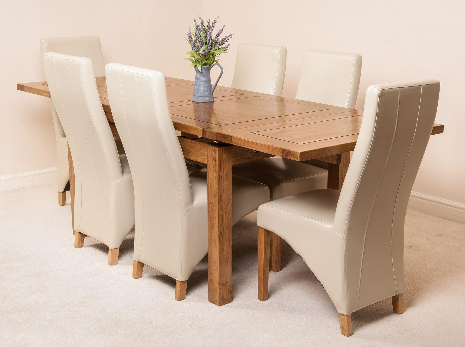FARMHOUSE RUSTIC SOLID OAK 160cm EXTENDING DINING TABLE & 6 LOLA LEATHER
