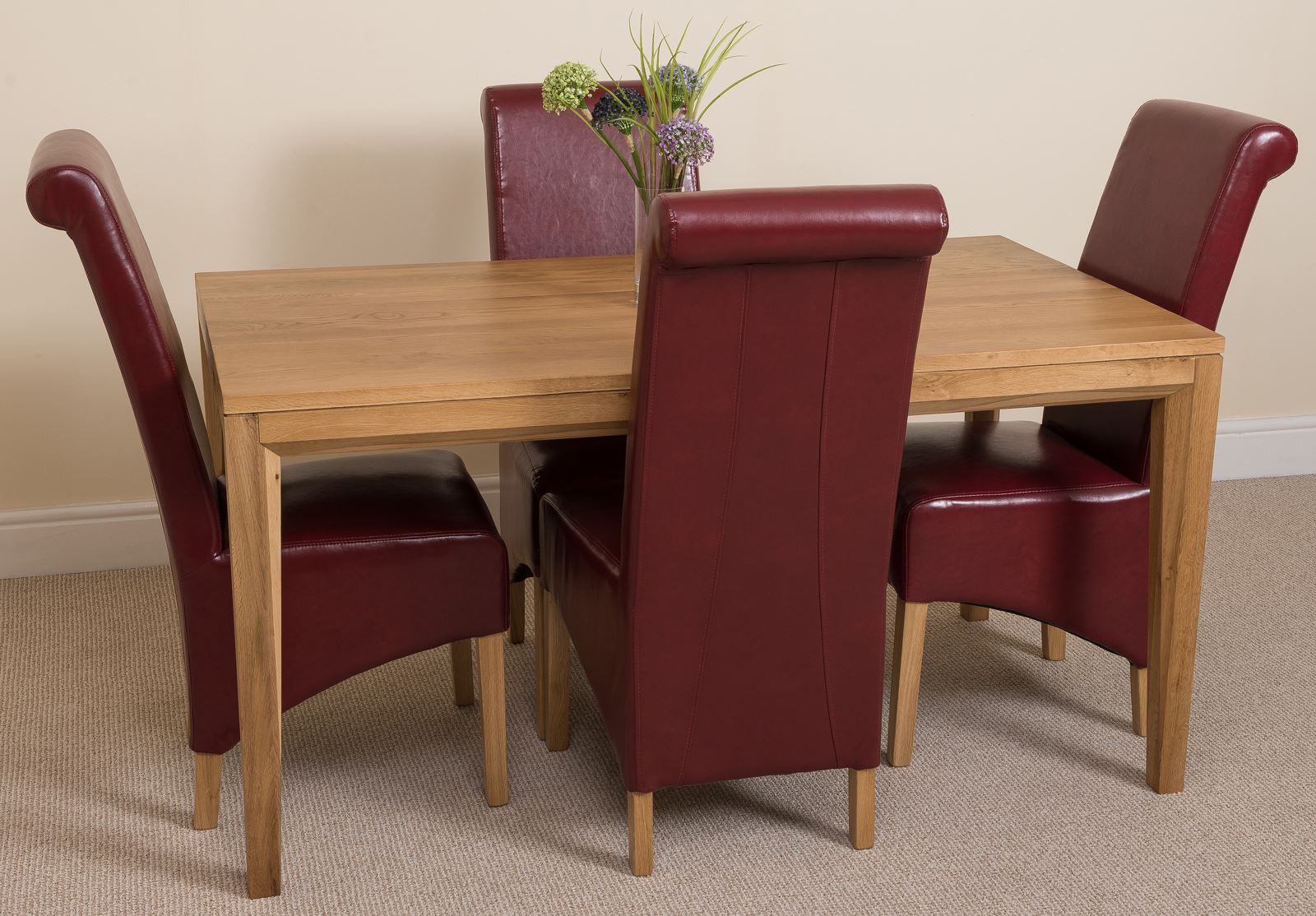 Bevel Solid Oak 150cm Dining Room Table 4 Brown Leather Montana Chairs