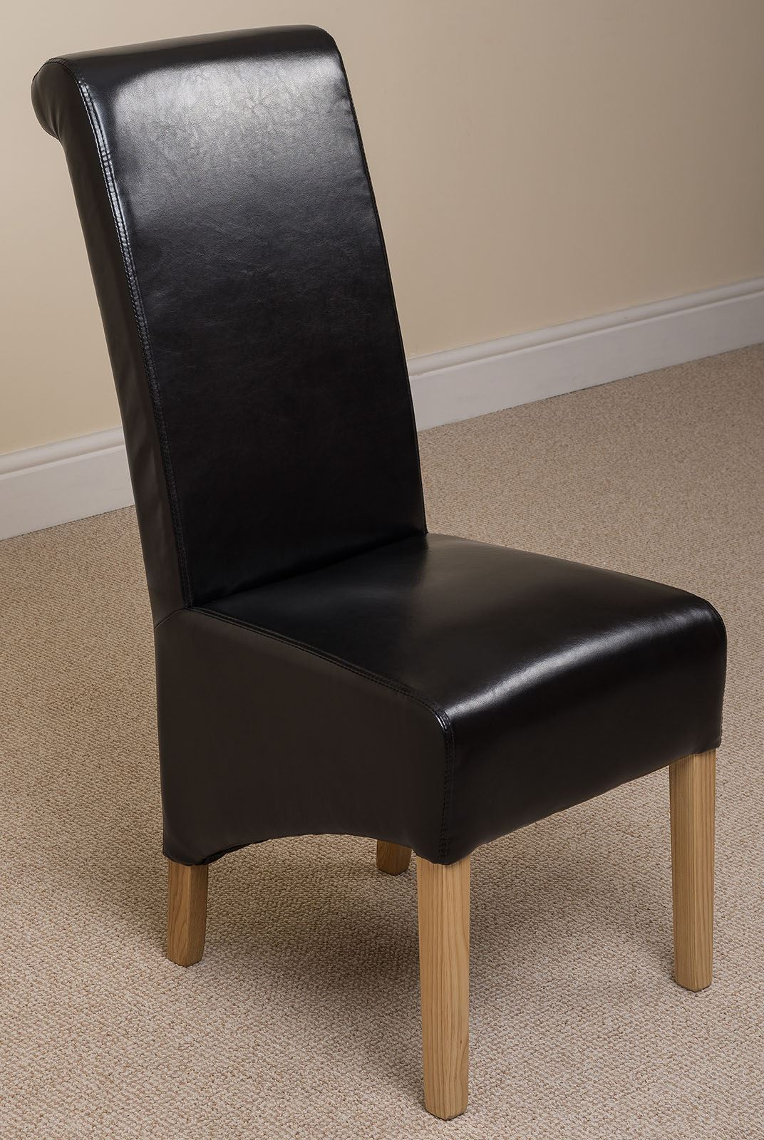 Montana scroll back brown leather dining room chairs for Brown leather dining chairs