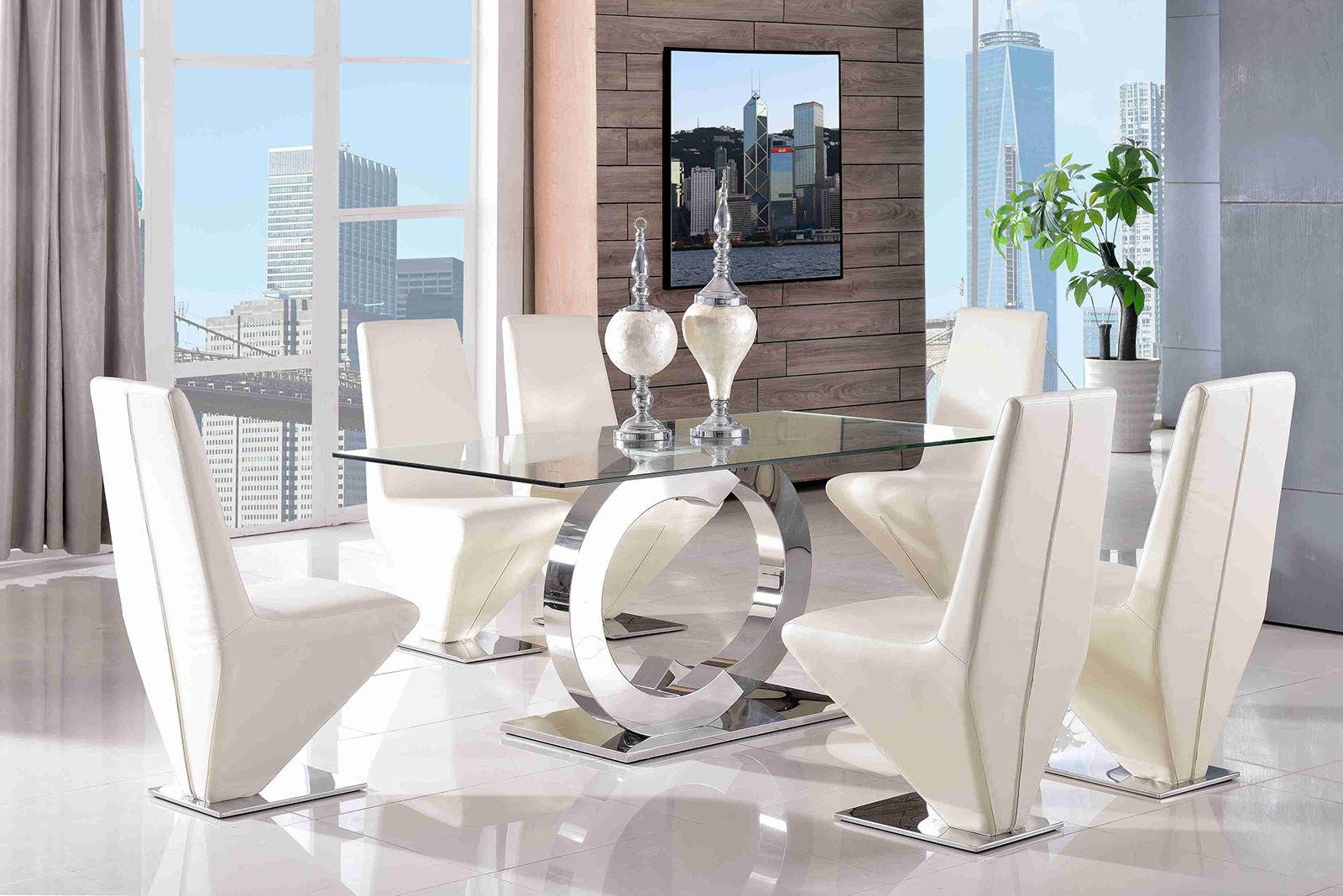 CHANNEL DESGNER GLASS DINING TABLE amp CHAIR SET NEW