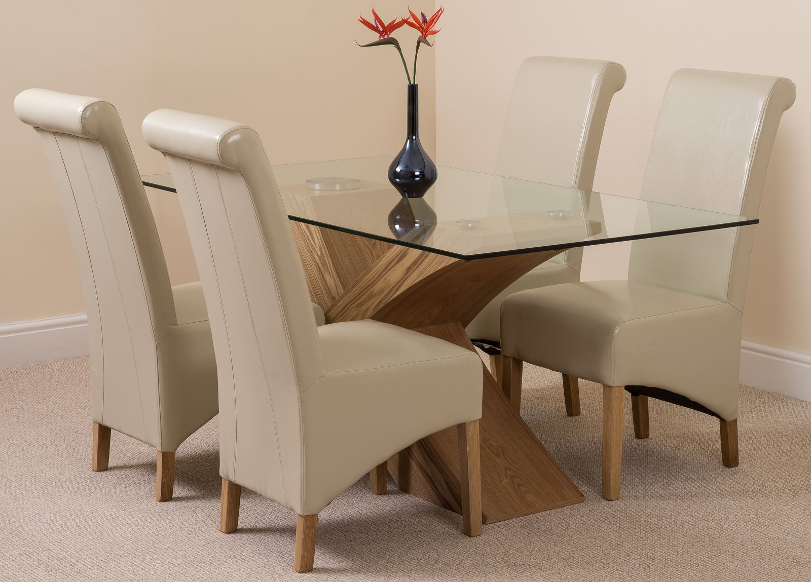Valencia 160cm Glass Dining Room Table 4 Red Leather Montana Chairs EBay