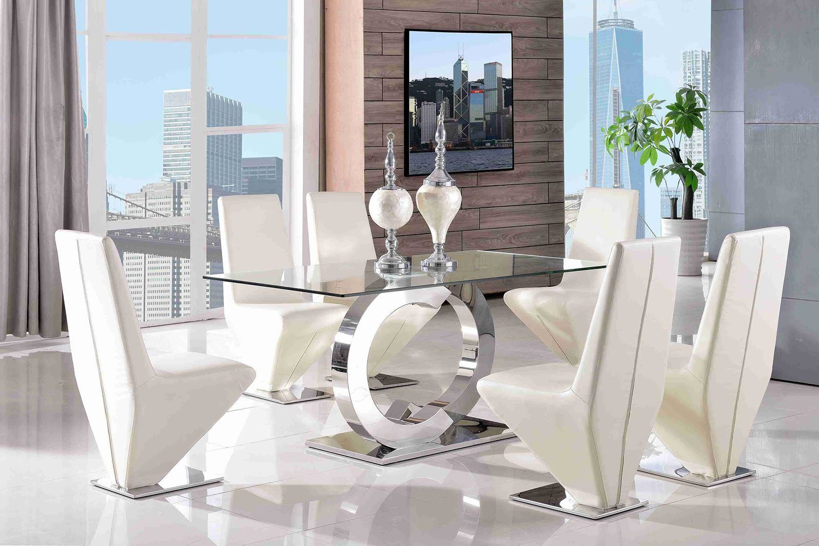 Channel Tempered Glass Steel Dining Room Table 4 Black Rita Leather Cha