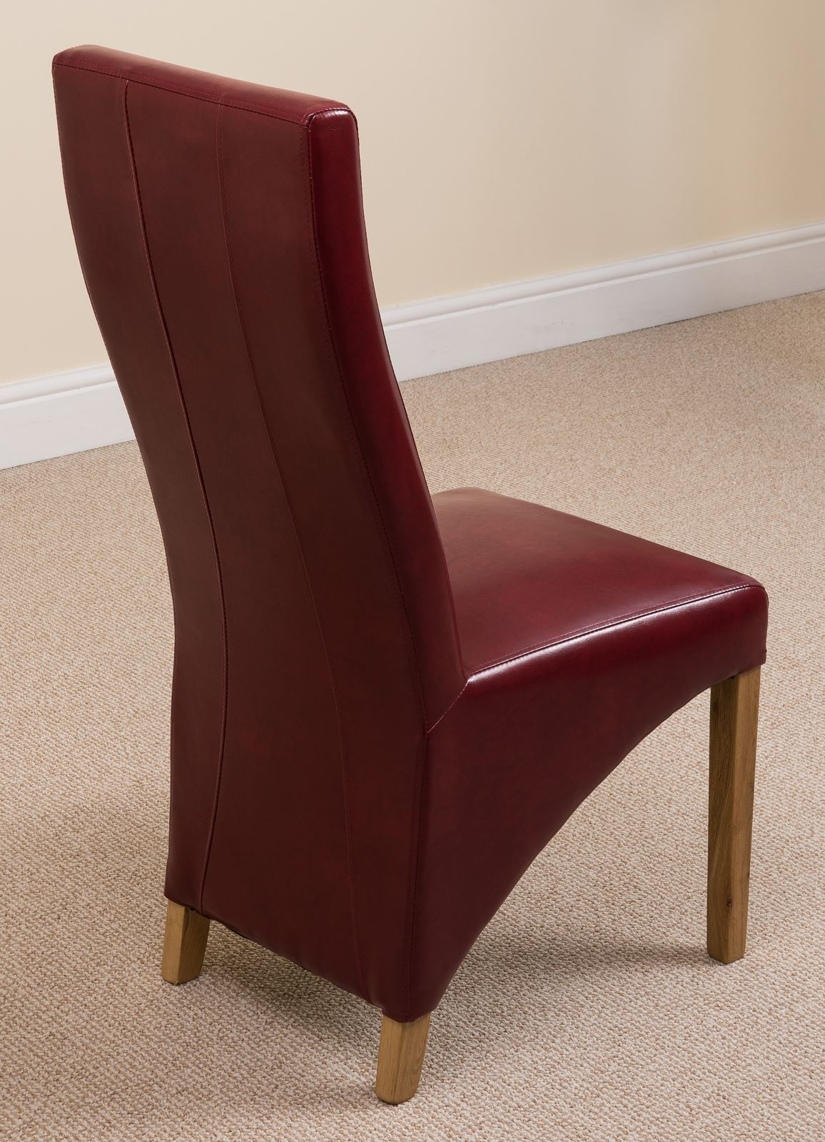 Lola Curved Back Red Leather Dining Room Kitchen Chairs
