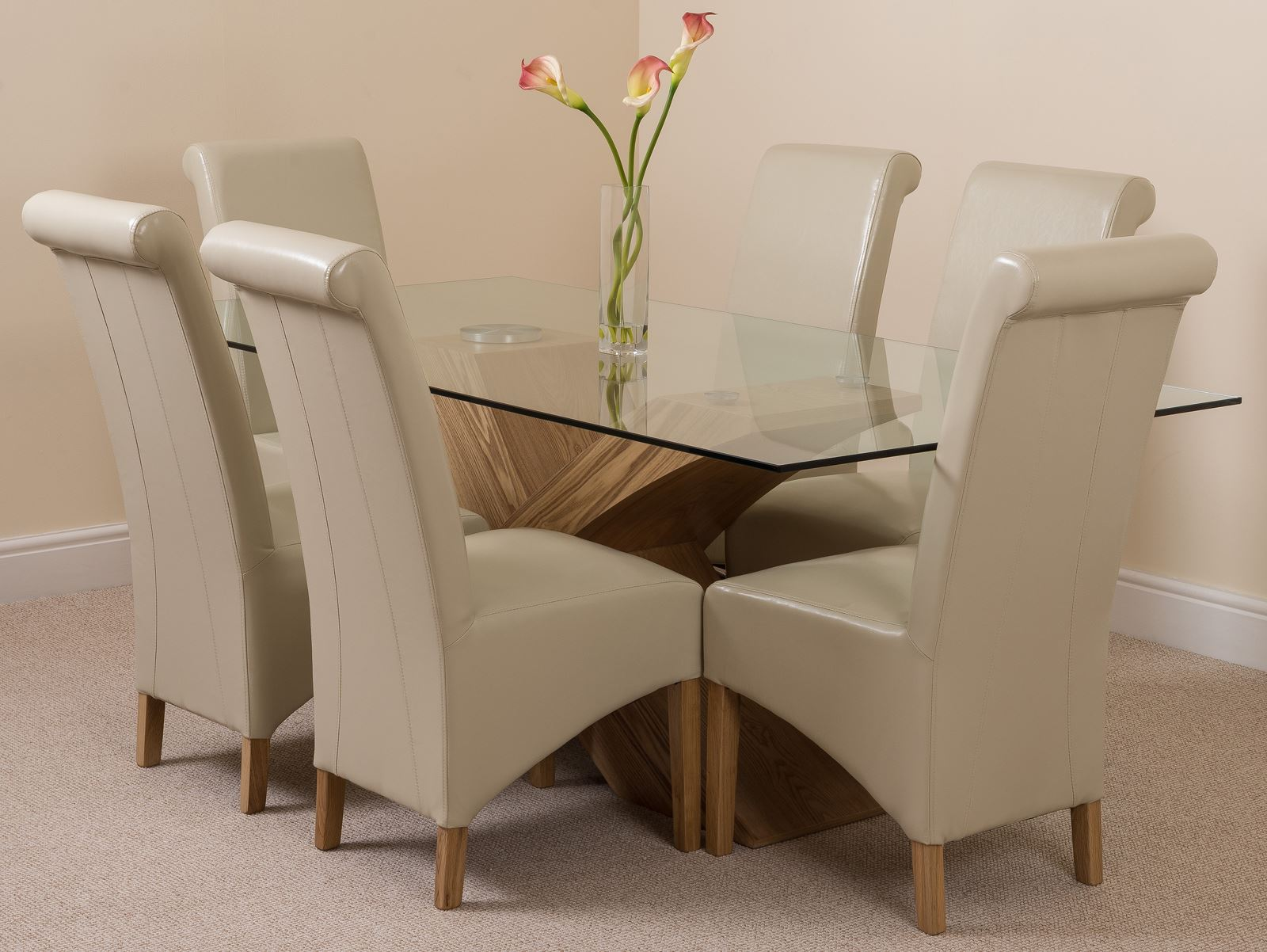 VALENCIA OAK DESIGNER MODERN GLASS DINING TABLE AND  : ebcc73d2 854d 4fc9 bb54 1a4eb0bdfc11 from www.ebay.co.uk size 1600 x 1202 jpeg 204kB