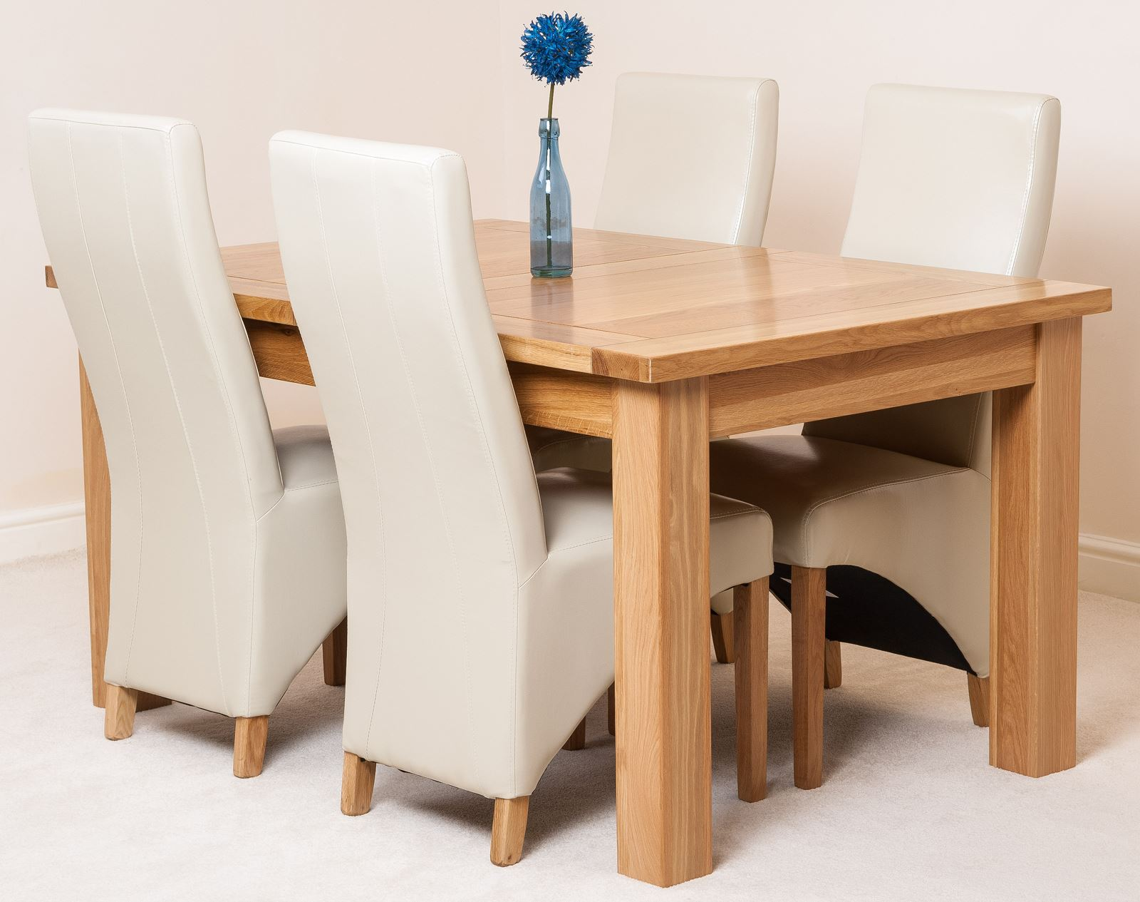 Seattle Oak 150cm Extending Dining Room Table 4 Ivory Lola Leather Chai