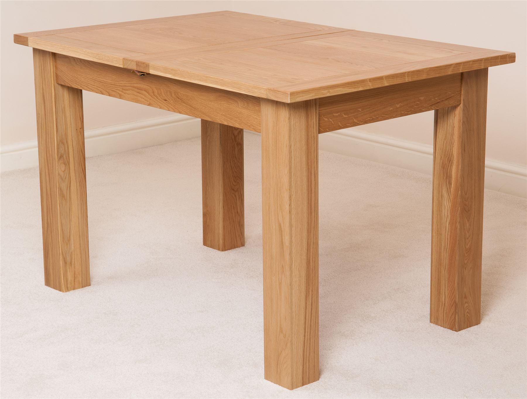 Hampton solid oak wood medium 120cm extending table wooden for Furniture dining table