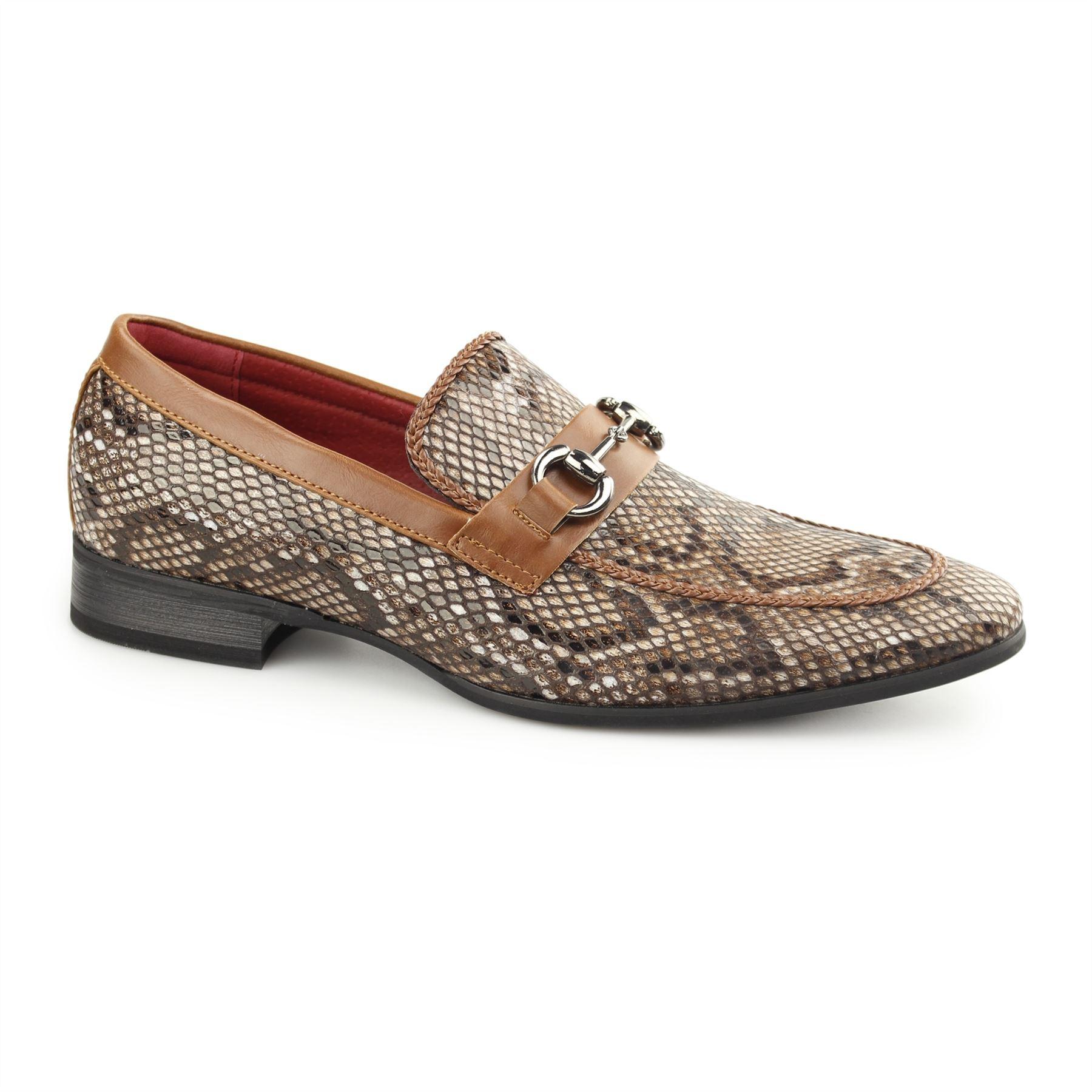 mens designer smart office snakeskin print buckle loafers