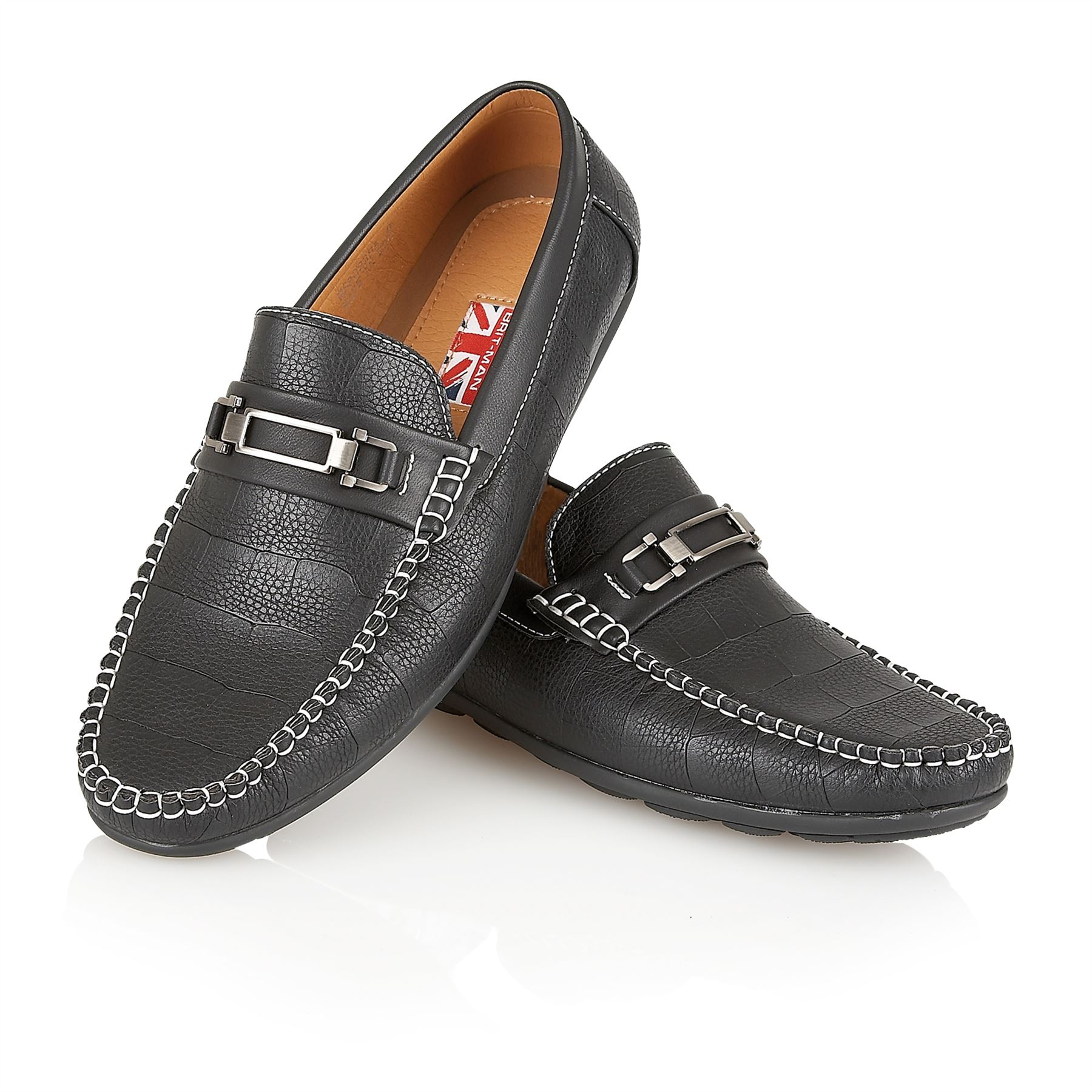 mens designer leather look italian loafers casual moccasin