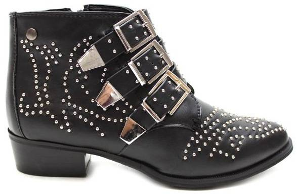 Truffle-Ladies-Italian-Style-Low-Heel-Ankle-Buckle-Strap-Boots