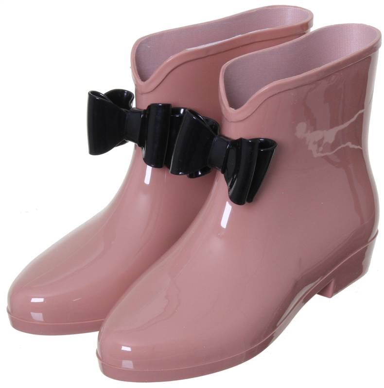 WOMEN'S FRONT BOW CHELSEA ANKLE LENGTH SHORT WELLIES WELLINGTON ...