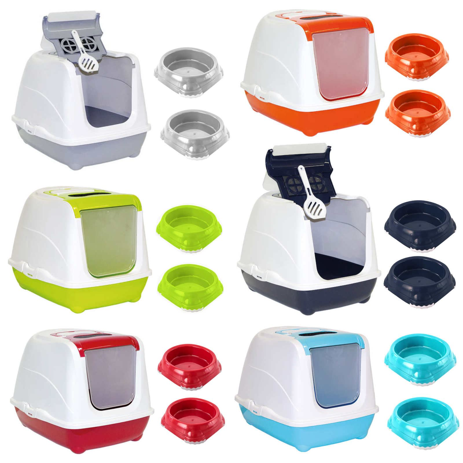 Cat Flip Litter Tray + 2 Bowls 0.2L or 0.3L + Scoop Hooded Toilet Filter Bowl 2
