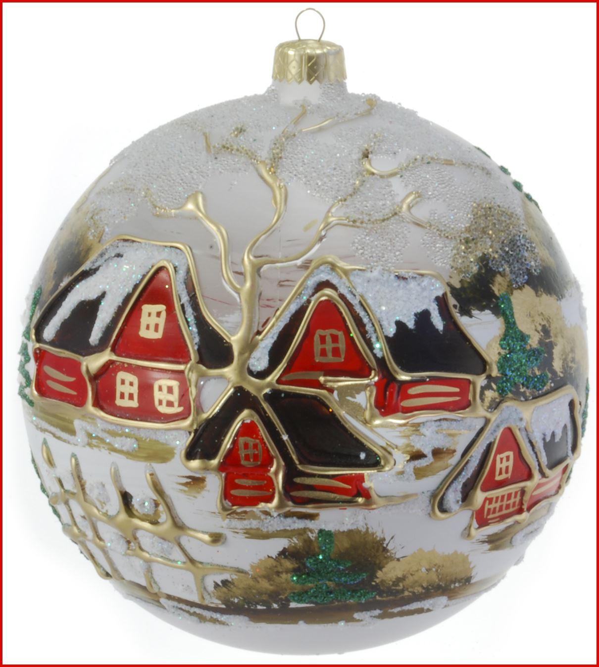 Glass Christmas Bauble 120mm Handmade Painted Balls