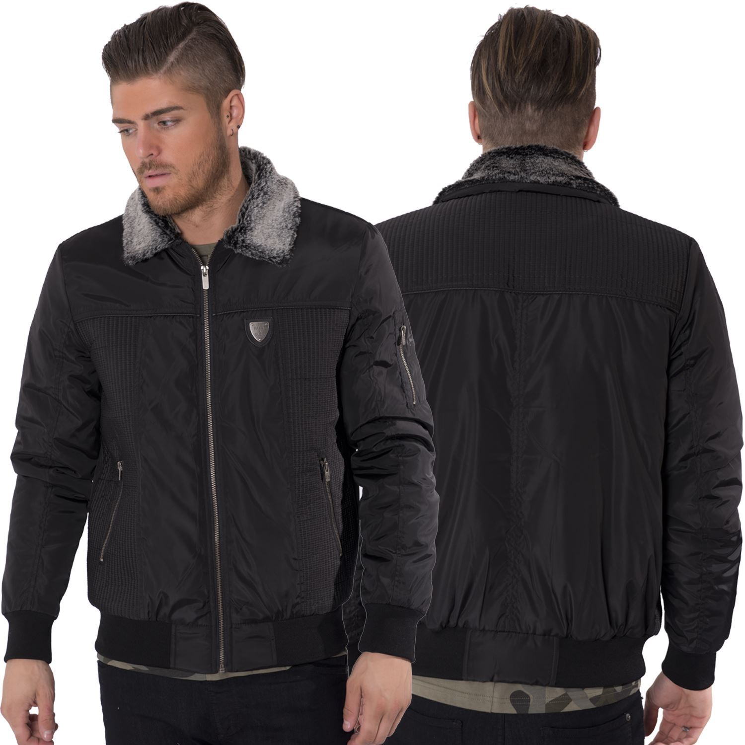 Click here for Brave Soul Mens Eastcott Oversized Fur Collar Aviator Jacket Khaki at MandM Direct. Brave Soul bomber style jacket with detachable fur collar.. Cheapest prices online. Save up to 75% off your favourite brands online.