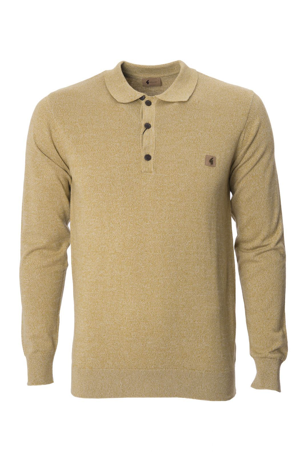 Mens knitted polo shirt long sleeve sweater jumper top by for Knitted polo shirt mens