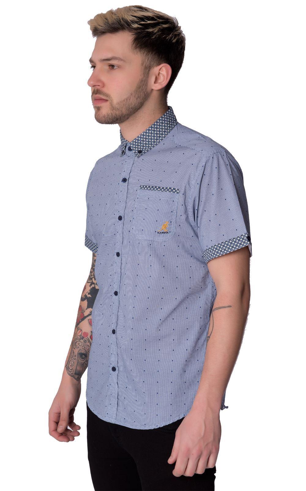 Kangol Designer Noah Mens Short Sleeve Casual Shirt Top