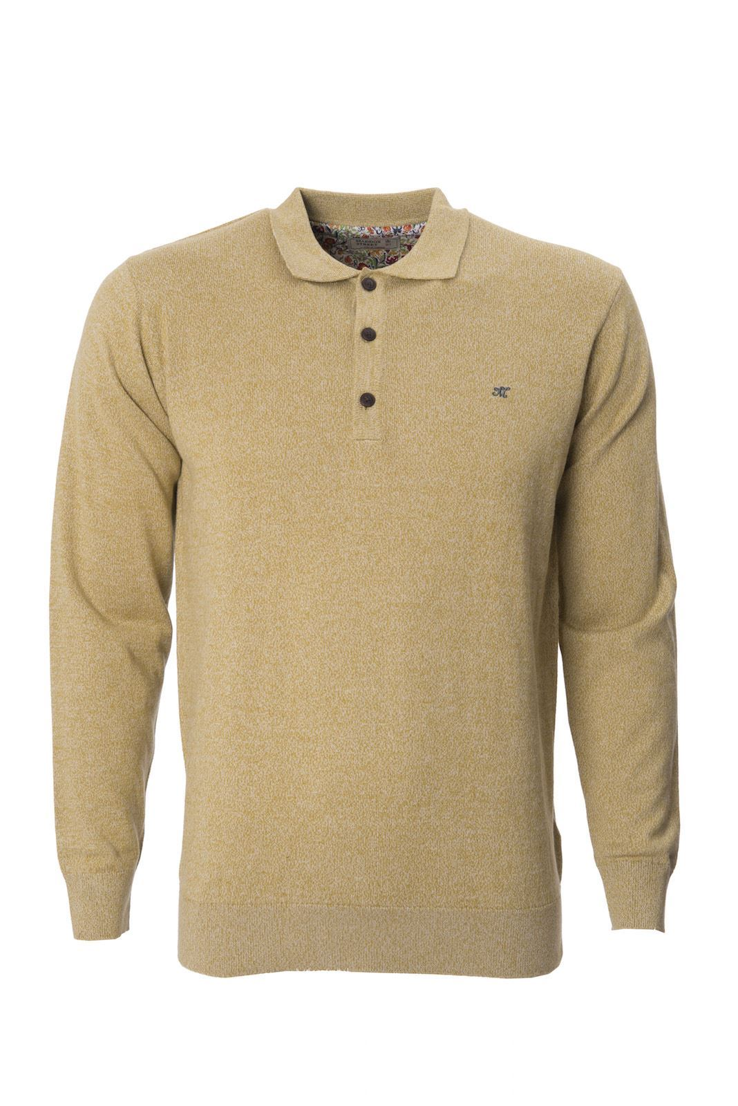 Maddox street mens knitted polo shirt collared long sleeve for Knitted polo shirt mens