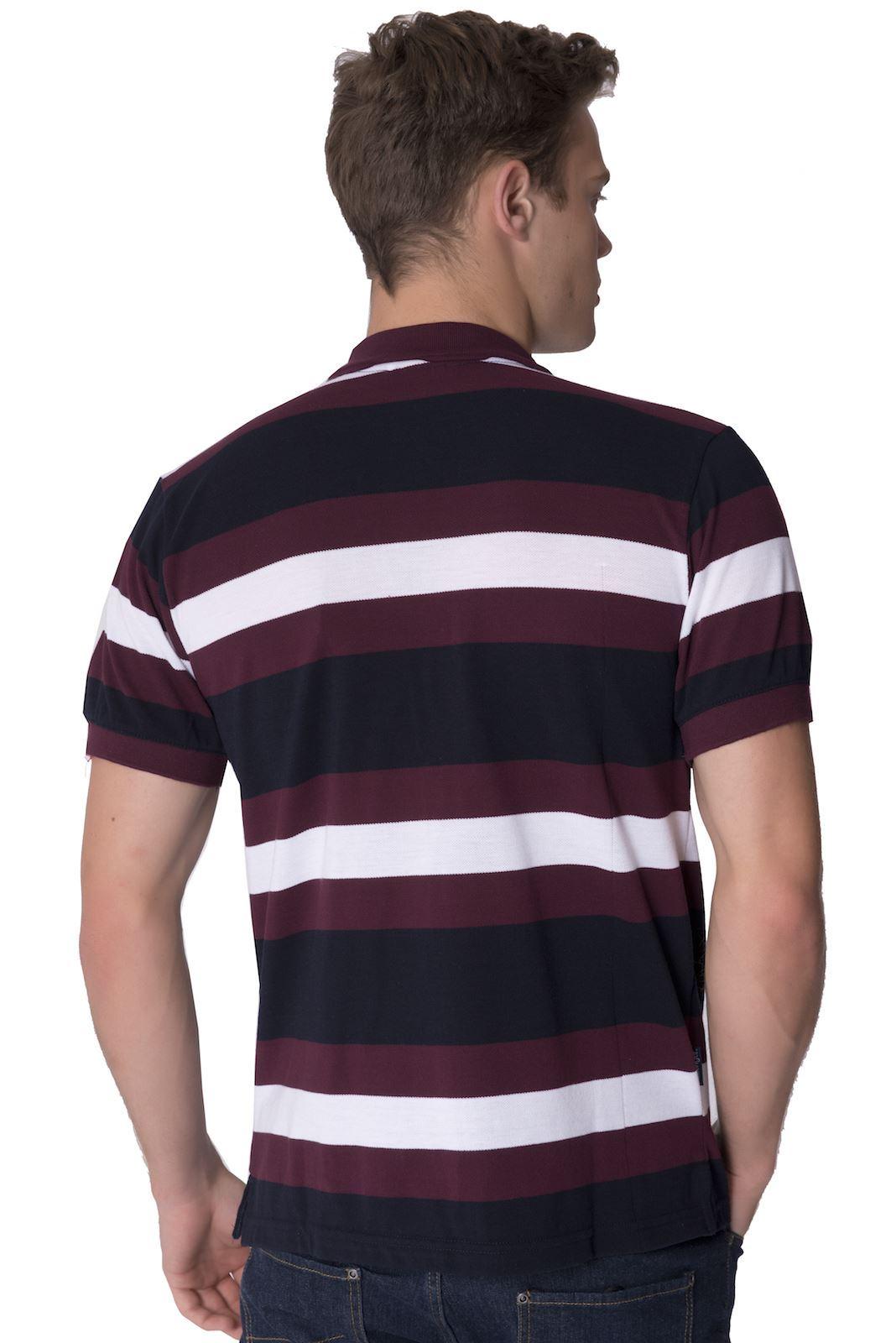 Slazenger mens striped branded polo shirt short sleeved for Button collar t shirt