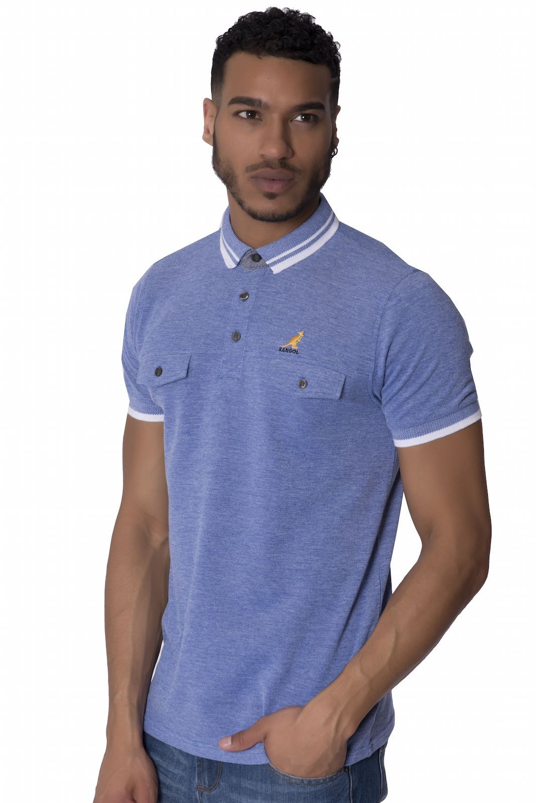 Kangol mens branded polo shirt chest pocket button up for Branded polo t shirts