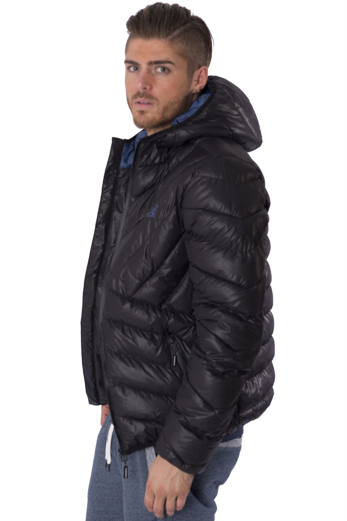 Kangol Mens Quilted Puffer Zip up Jacket Streetwear Hooded