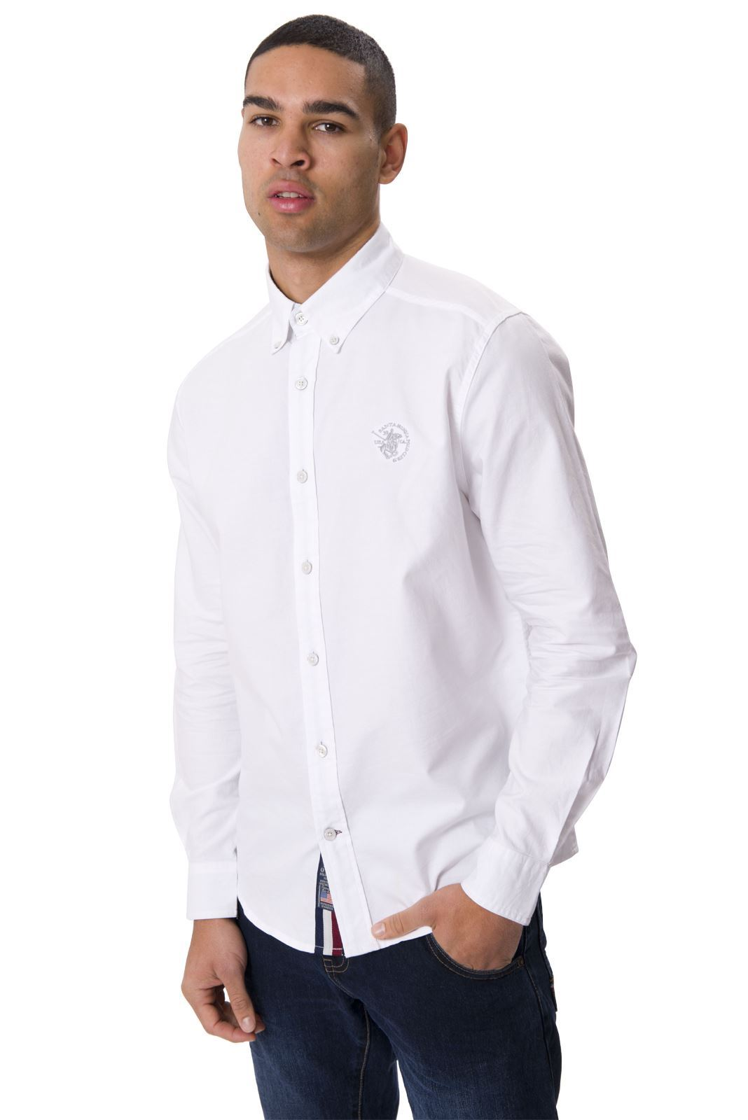 Santa monica polo club mens long sleeve plus size collared for Mens button collar shirts
