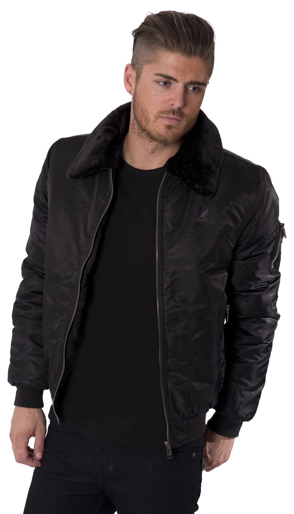 Pointed Fur Collar Mens Black Bomber Jacket as the name suggests has something to do with the furry look. Well, it has the collars finished using the fur, the overall look of this jacket has been finished using the leather material and on the top of it has a color with the black and white touch.