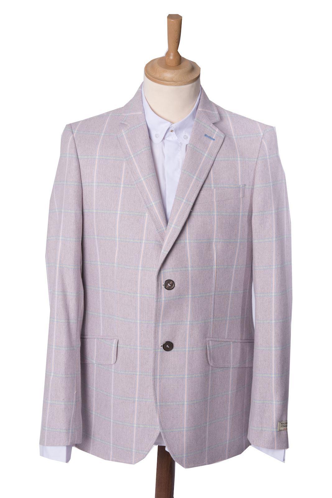 Mens Pink Tailored Jacket Heritage Checked Blazer Coat Maddox St ...