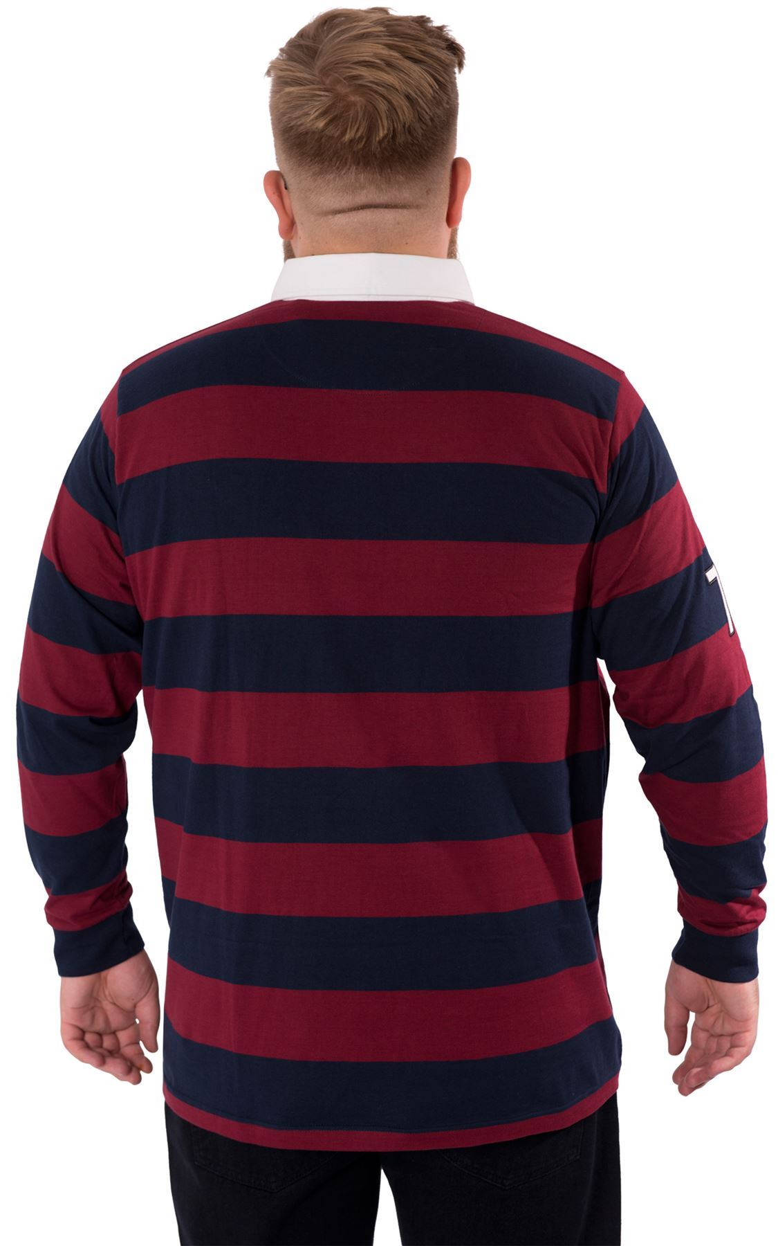 Mens plus king size long sleeve collared cotton rugby polo for Longer length mens polo shirts
