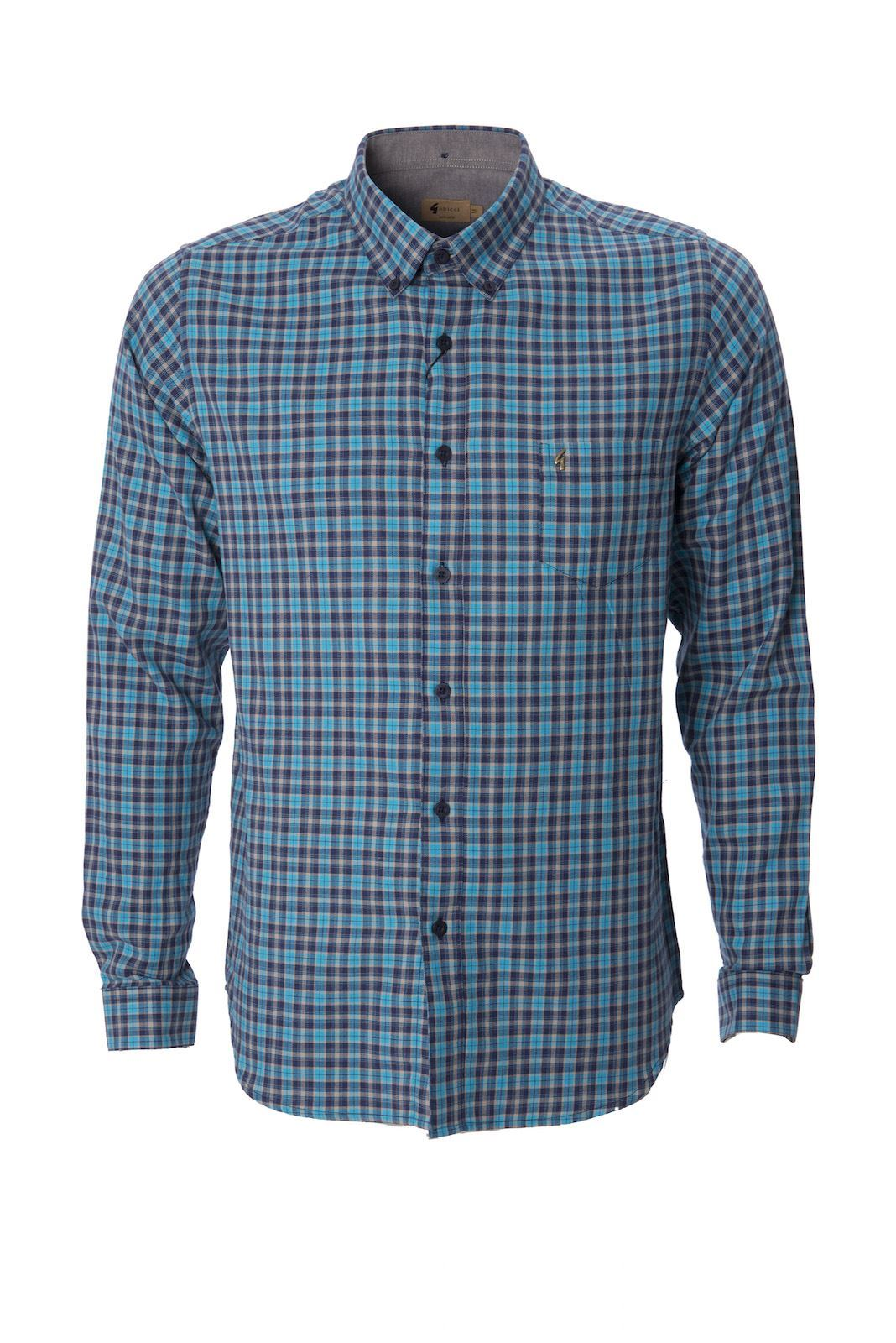 Gabicci mens shirt check button down collared long sleeve for Best casual button down shirts