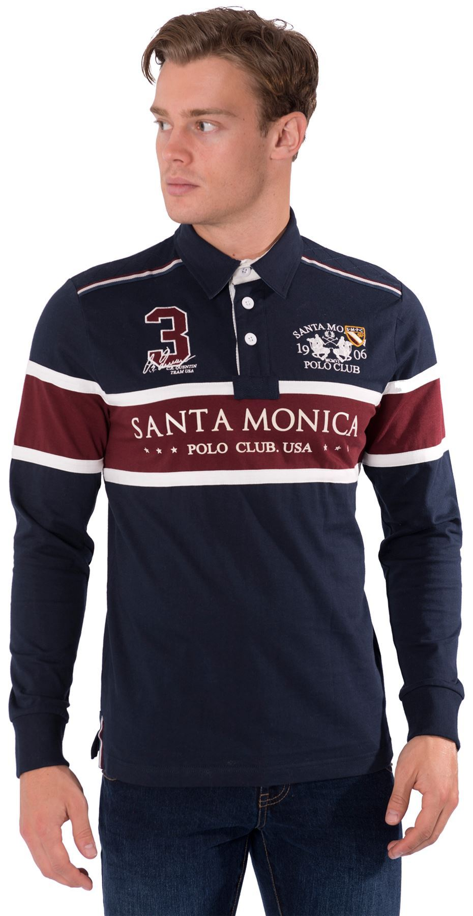 Mens casual rugby polo shirt collared long sleeve top by for Longer length mens polo shirts