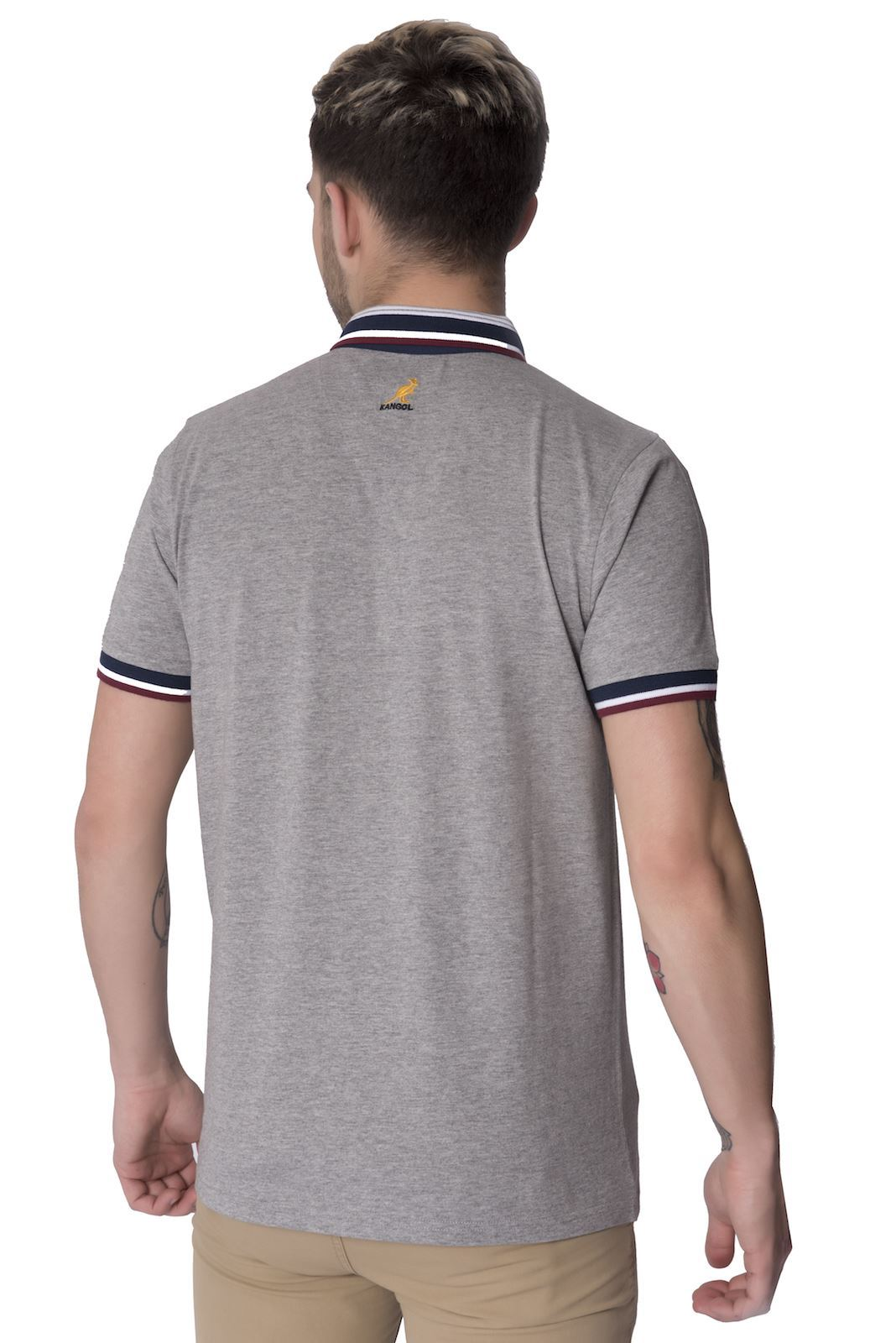 Kangol mens polo shirt ribbed striped collar short sleeve for Mens button collar shirts