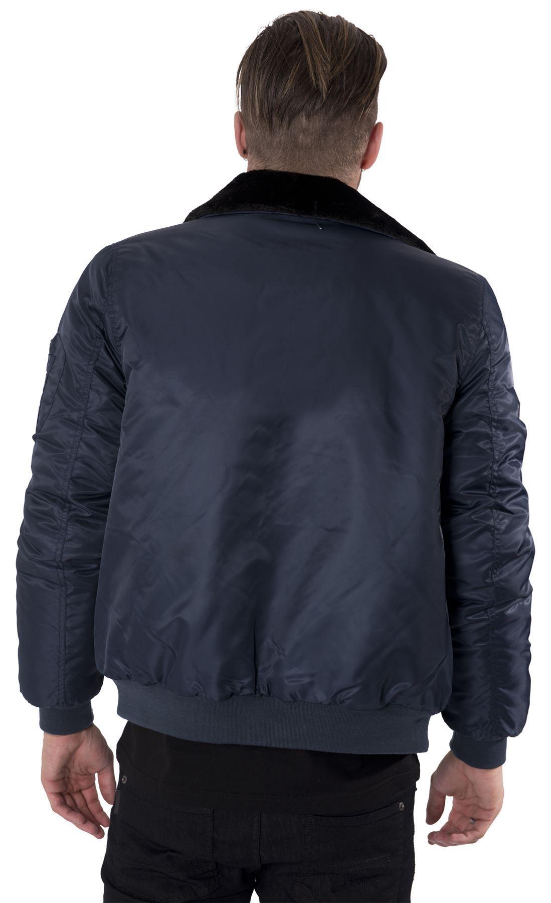 Kangol Mens Jacket Coat Black Faux Fur Collar Bomber Zip Through ...
