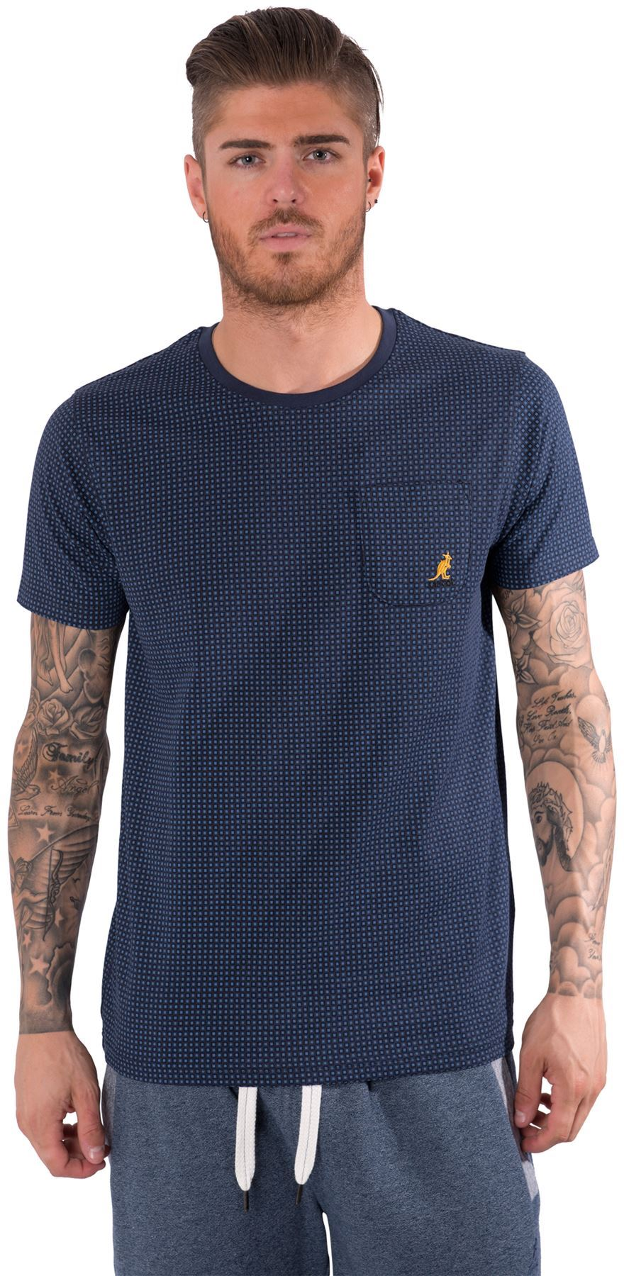Kangol mens t shirt chest pocket crew neck short sleeved for Men s polo shirts with chest pocket