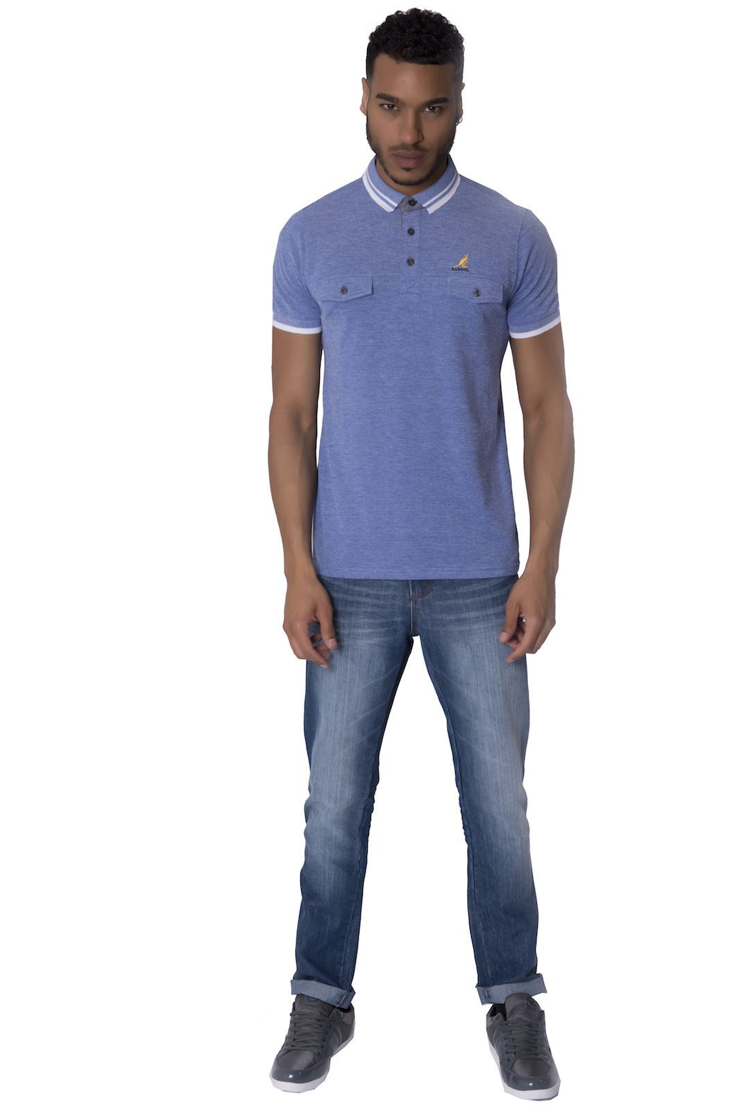 Kangol mens branded polo shirt chest pocket button up for Polo t shirts with pocket online