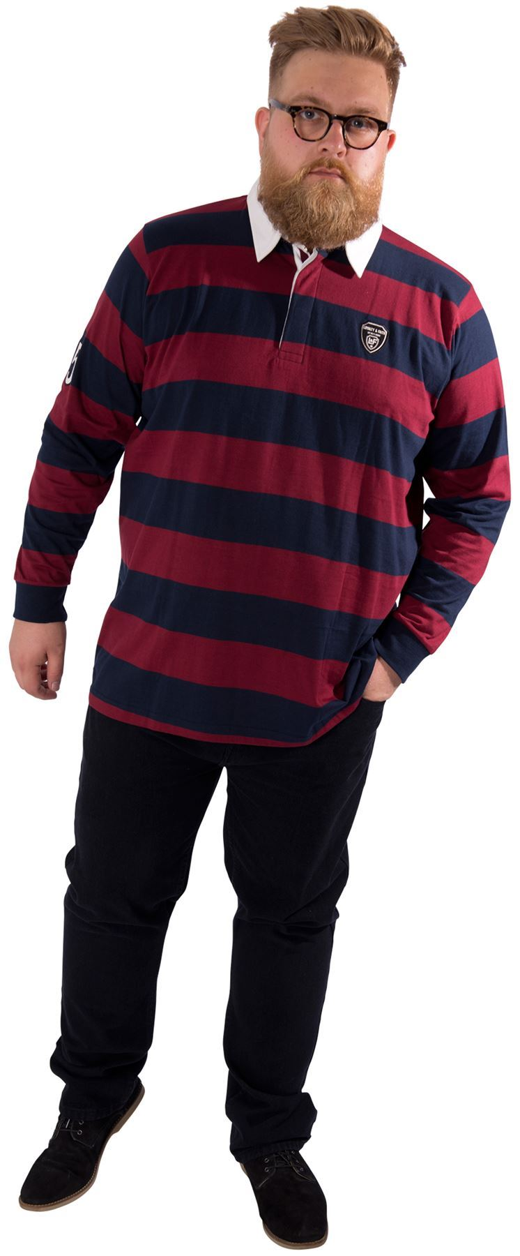 Mens plus size long sleeved rugby polo shirt collared top for Longer length mens polo shirts