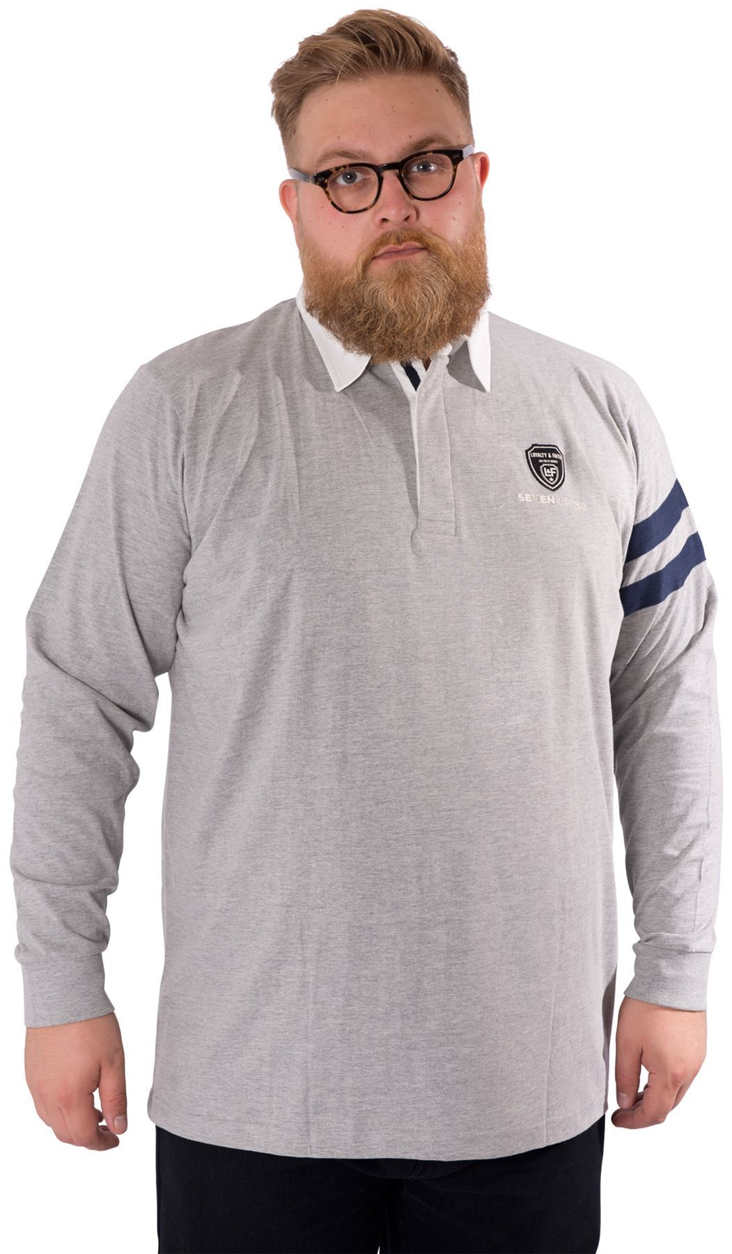 Mens Plus Size Long Sleeved Rugby Polo Shirt Contrasting
