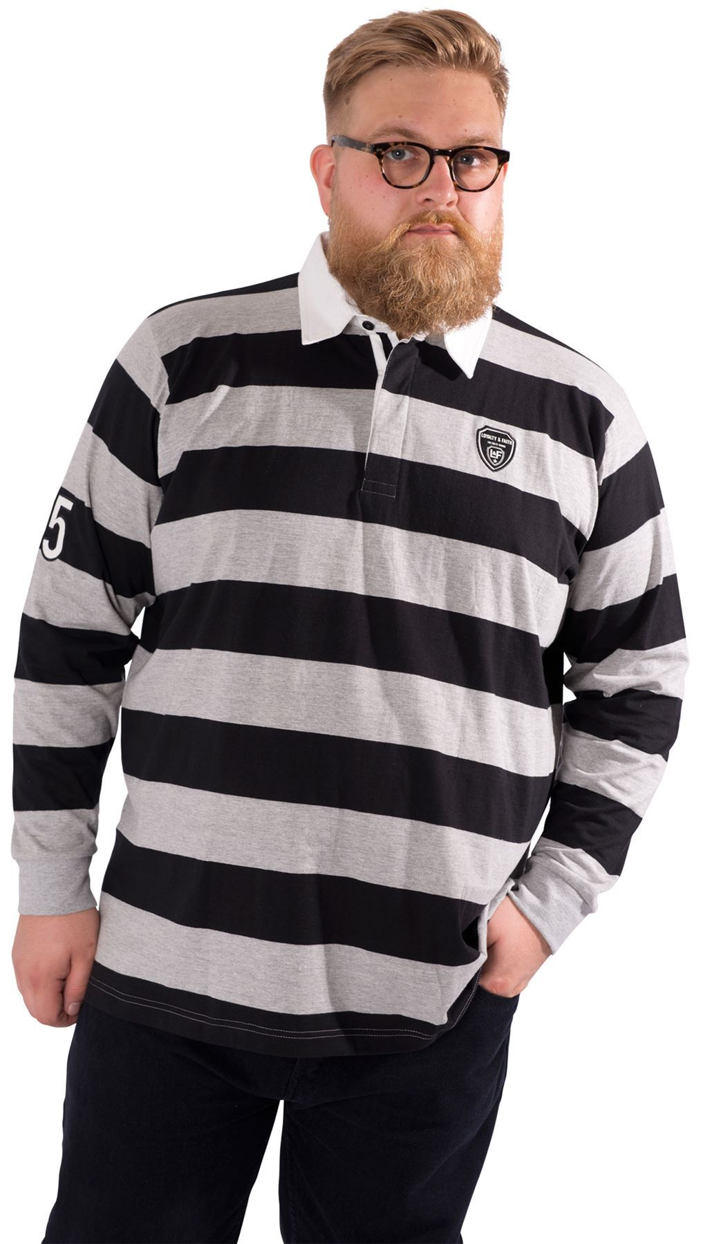 Mens Plus Size Long Sleeved Rugby Polo Shirt Collared Top
