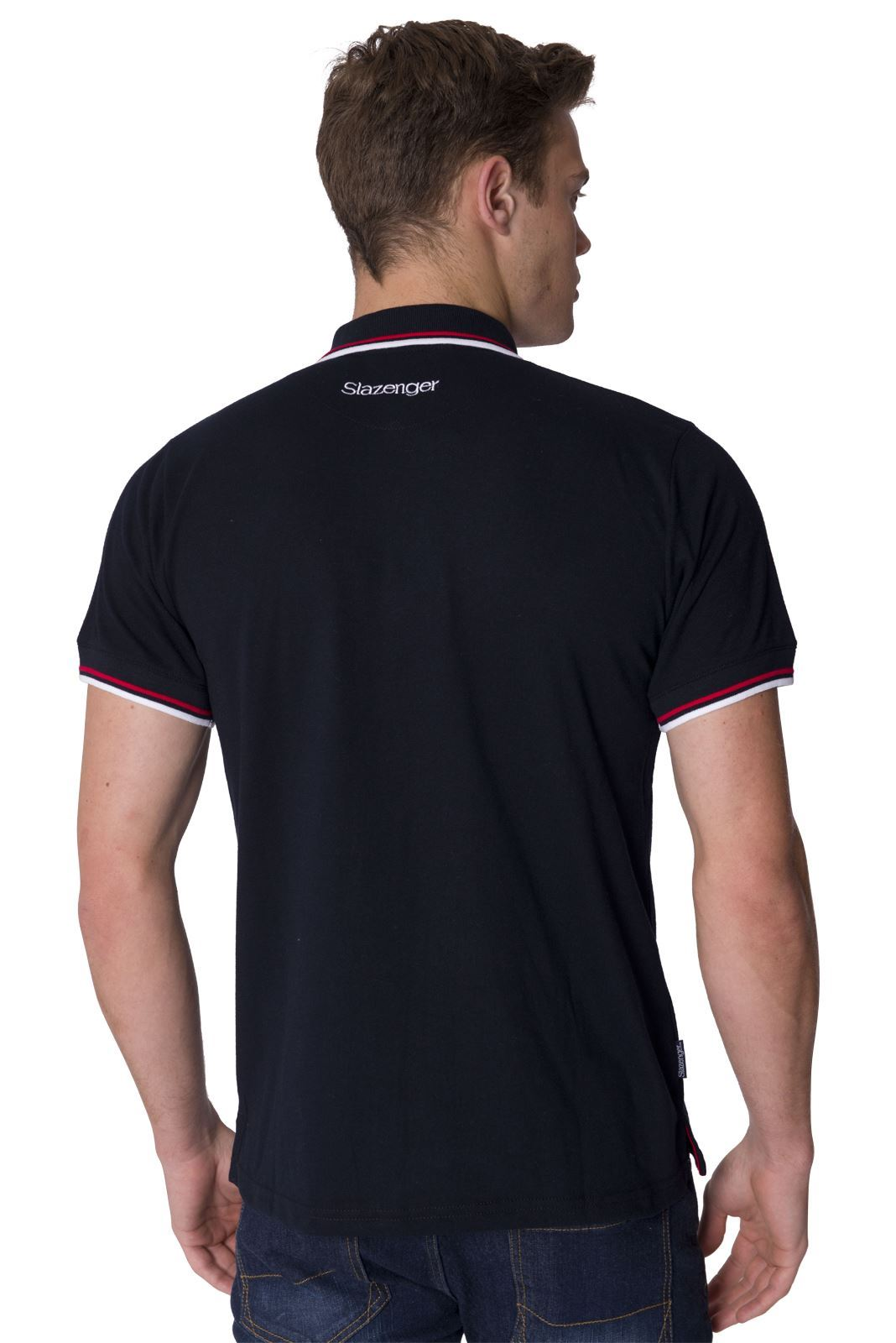 Slazenger designer new mens short sleeve collared polo tee for Xxl mens polo shirts