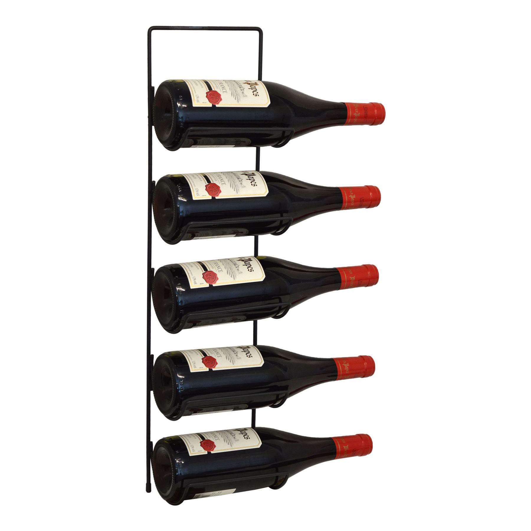 Harbour Housewares 5 Bottle Wall Mounted Black Metal Wine