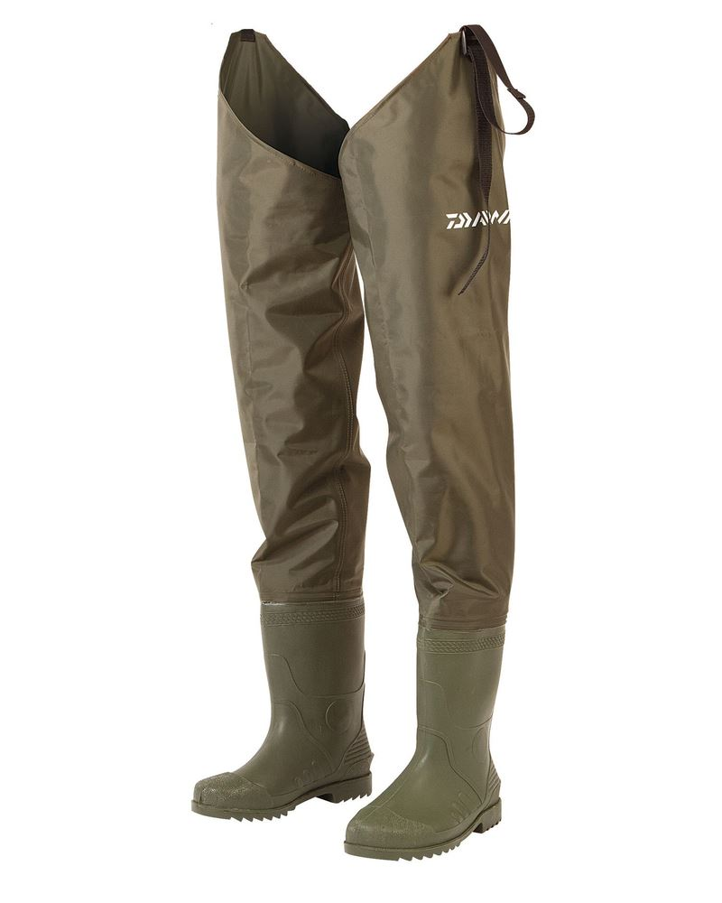 Daiwa lightweight nylon hip wader cleated sole all sizes 6 for Lightweight fishing pants