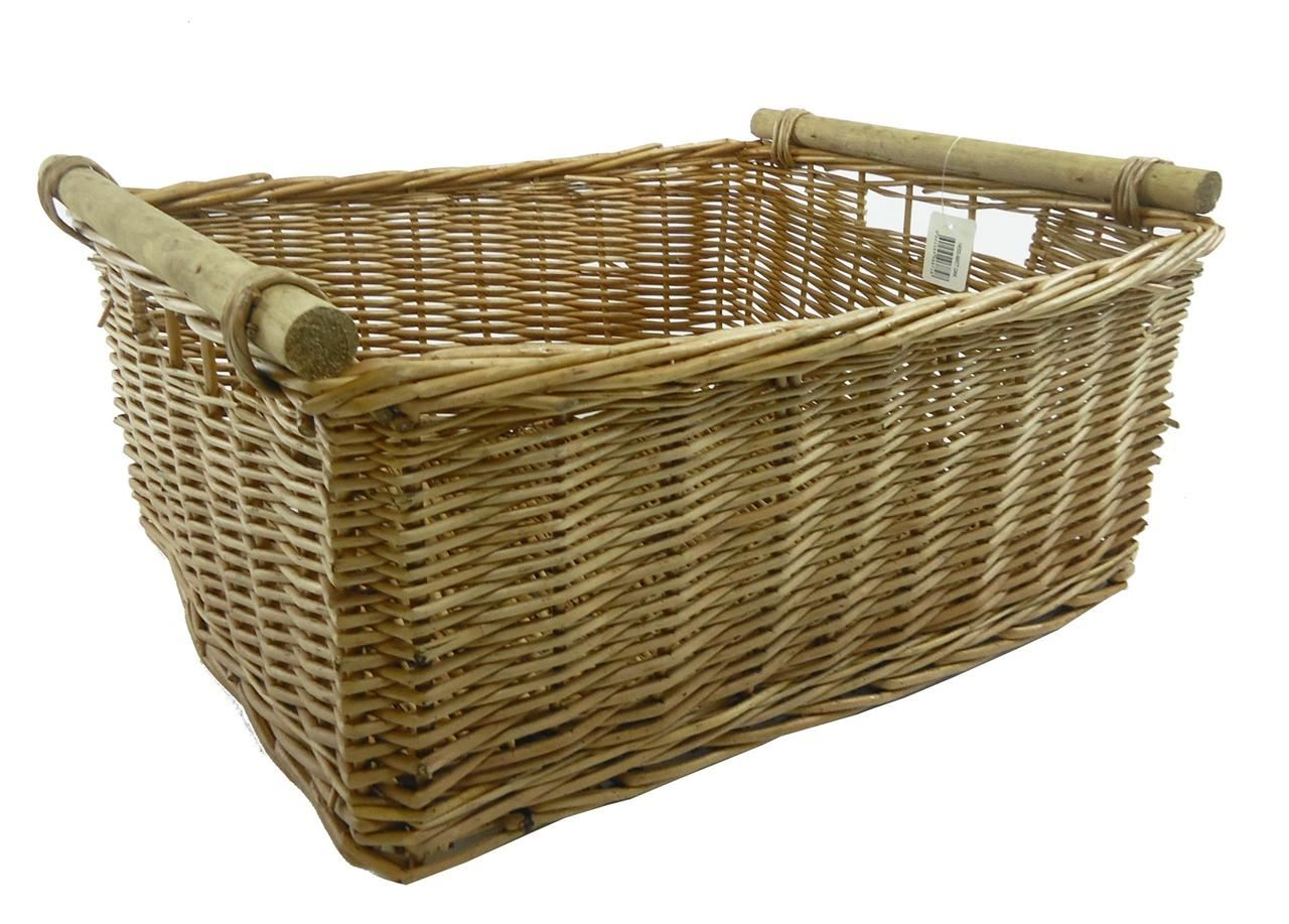 Empty Wicker Gift Baskets : Large deep kitchen log full wicker storage handle xmas