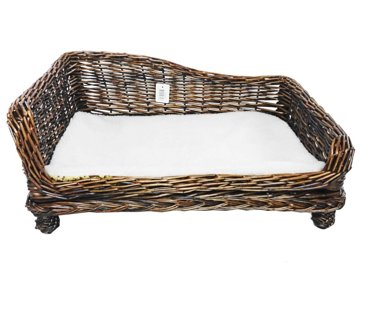 brown large big huge xl dogs wicker pet bed basket seat couch padded cushion ebay. Black Bedroom Furniture Sets. Home Design Ideas