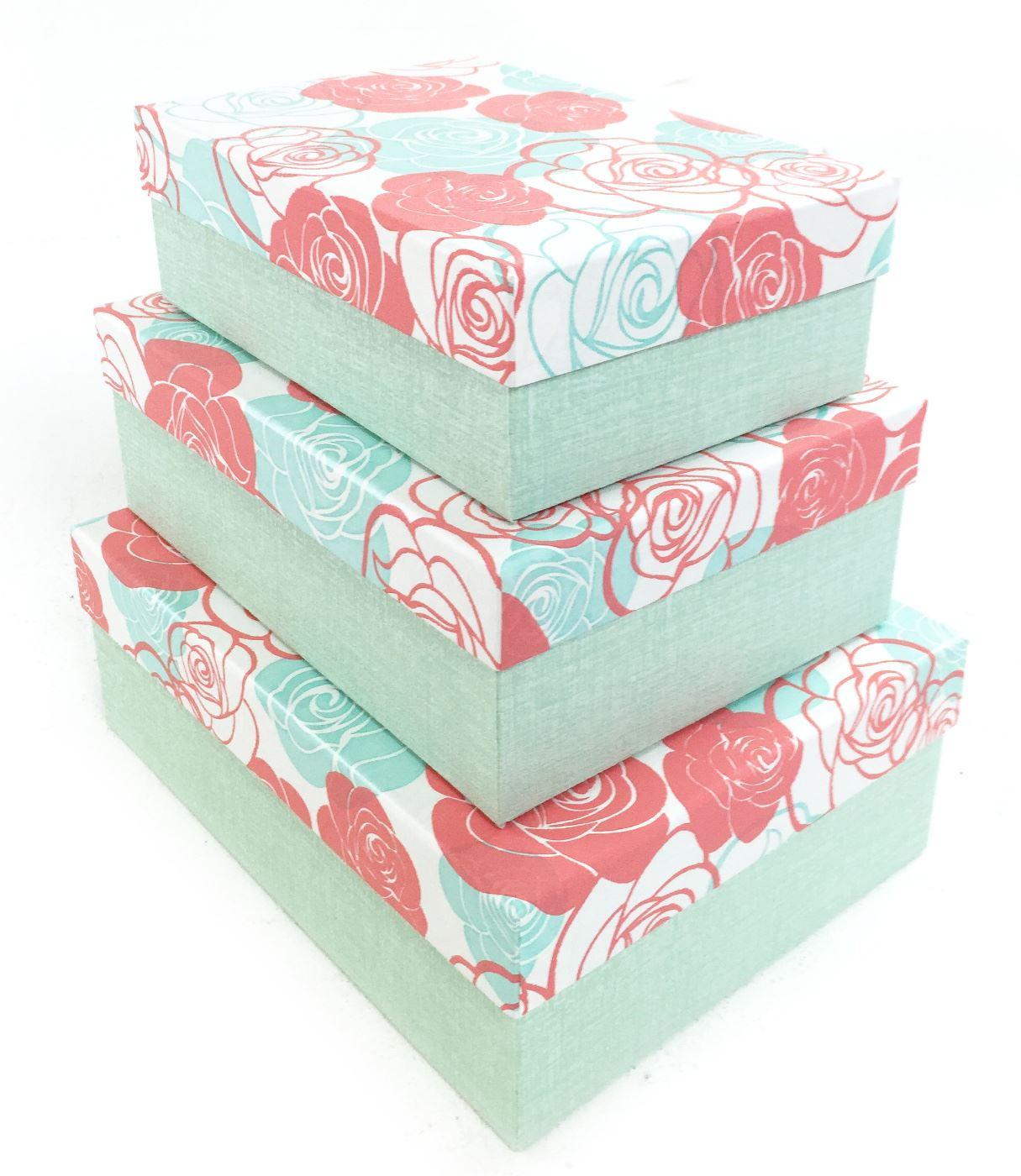 green rose flower rectangle hard cardboard craft storage. Black Bedroom Furniture Sets. Home Design Ideas
