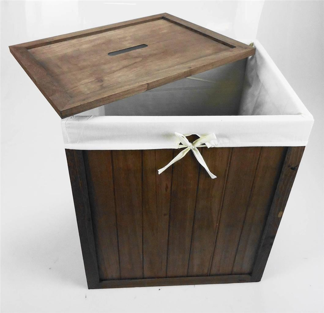 ... Chic-White-Brown-Pine-Wooden-Laundry-Basket-Toy-Box-Storage-Chest-Lid