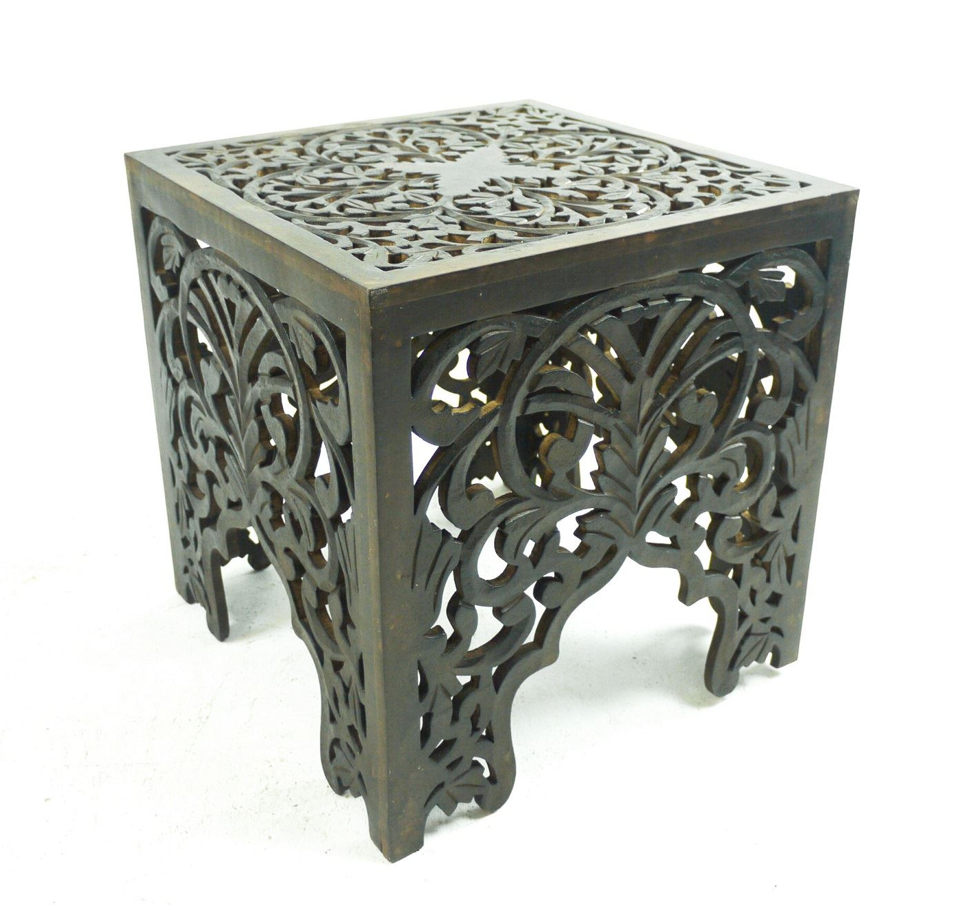 Beautiful brown white square hand carved indian wooden Beautiful end tables