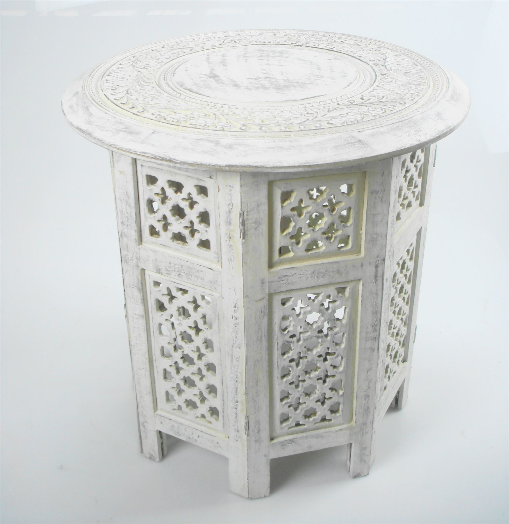Beautiful Round Brown White Hand Carved Indian Shesham