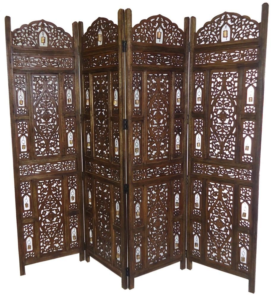 Carved Wooden Screens ~ Panel carved heavy duty indian wooden bells design