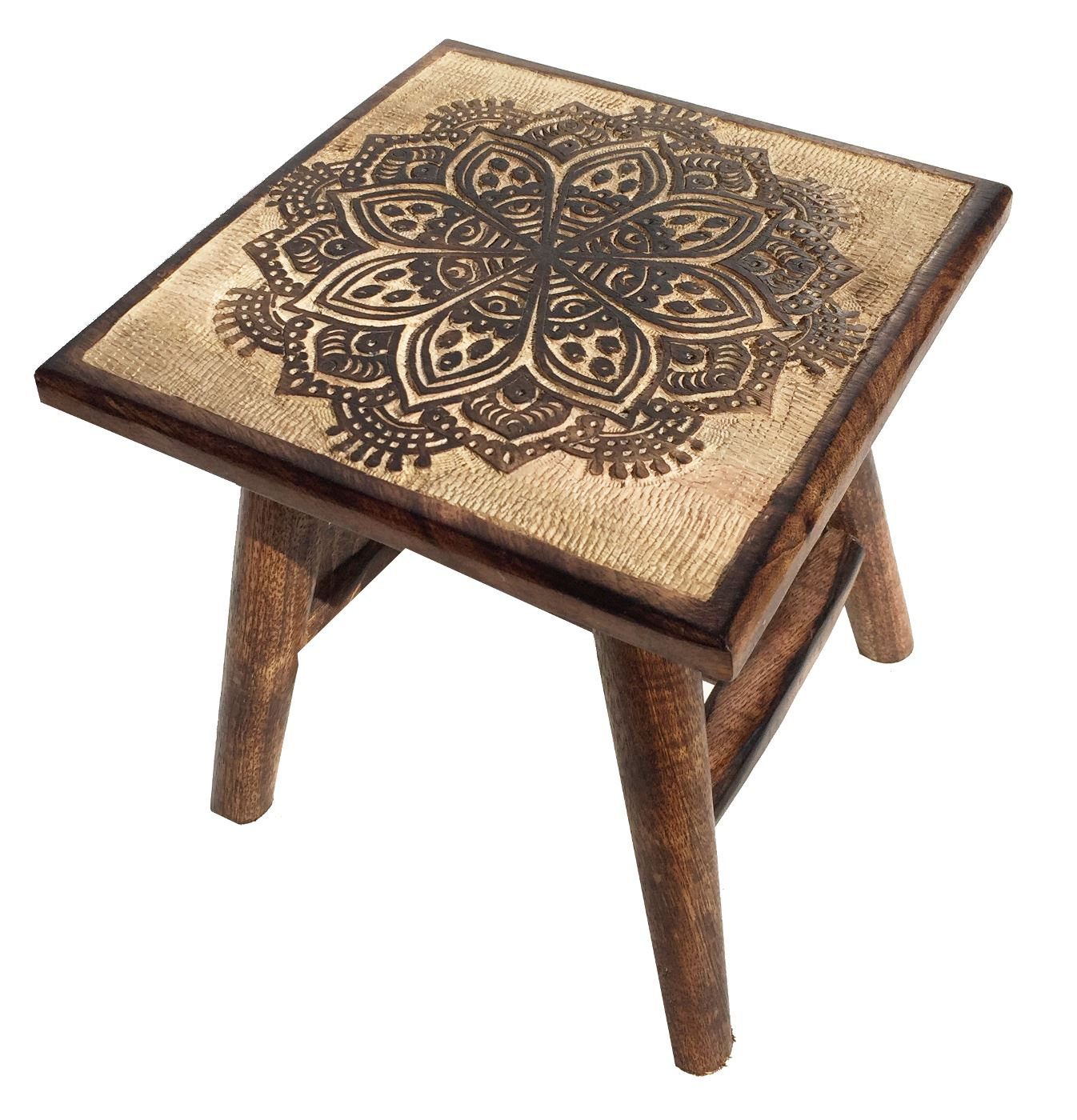 25cm brown hancarved mango wood square wooden stool coffee for Square coffee table with stools