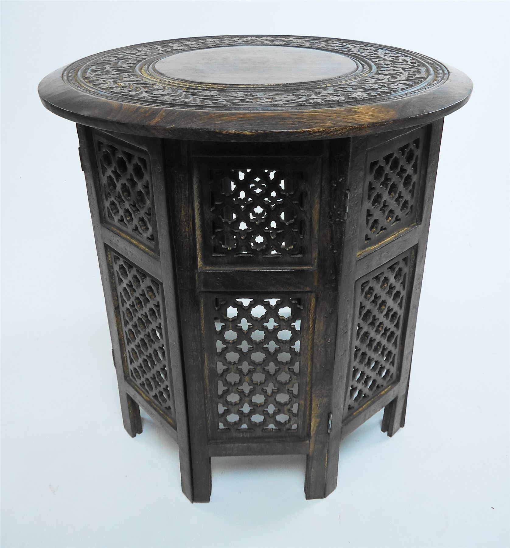 Hand Carved Coffee Tables ~ Beautiful round brown white hand carved indian shesham